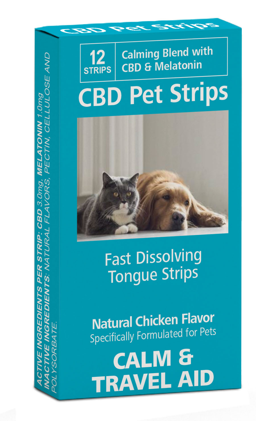 PET Sublingual Strips TRAVEL & CALM Twelve - 3mg CBD Sublingual Strips
